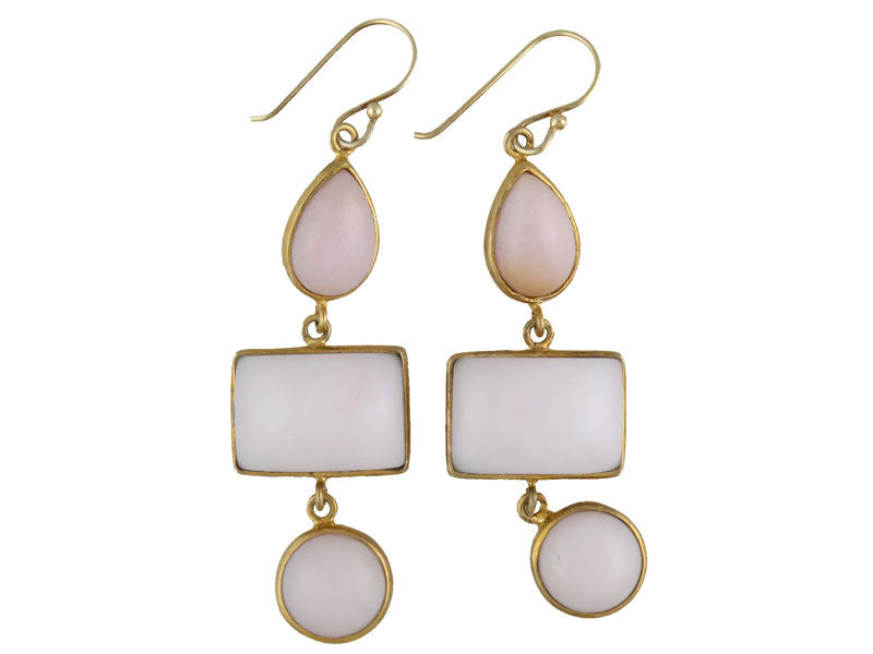 Pink Opal Triple Drop Bezel Set Earring