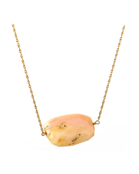 Pink Opal Single Stone Necklace
