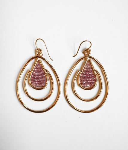 Pink Tourmaline Double Cage Earrings