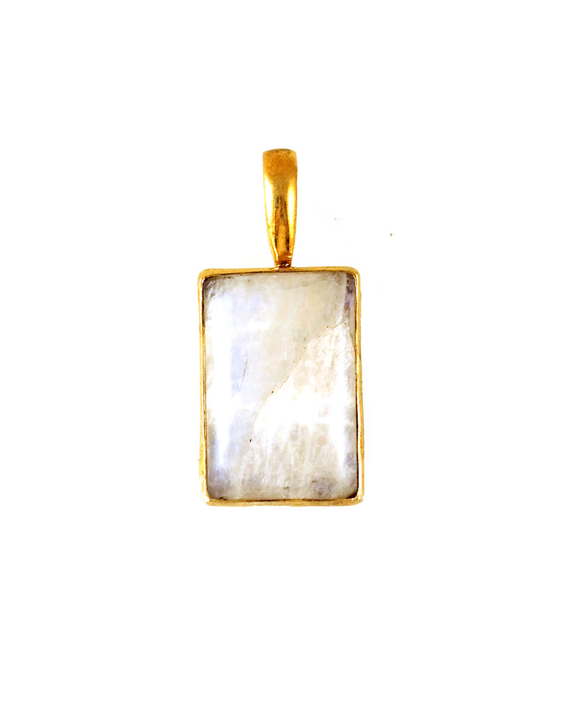 Rainbow Moonstone Rectangle Pendant Necklace