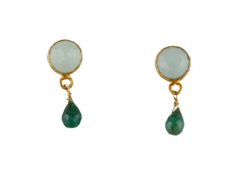 Calcite & Emerald Posts Earring
