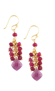 Ruby Cascade Drop Earring