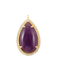 Semi-Precious Pave Tear Drop Pendant Necklace