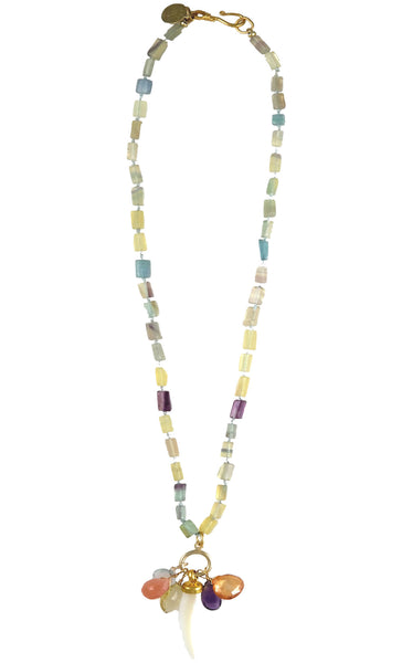 Multi Color Citrine Faceted Tube Cluster Drop Necklace