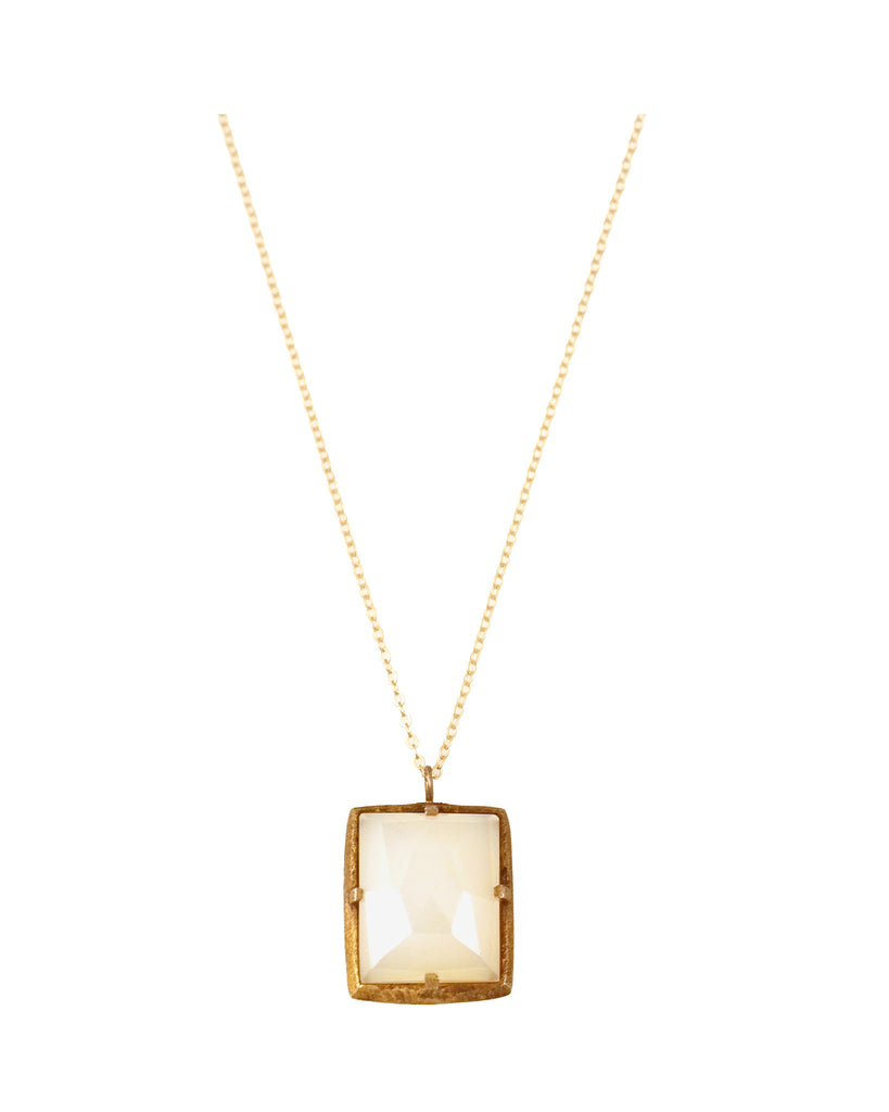 White Moonstone Square Pendant Necklace