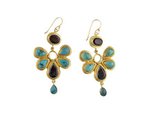 Gold Turquoise - Garnet Flower Drop Earrings