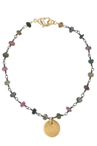 Gold Disc & Watermelon Tourmaline Bracelet