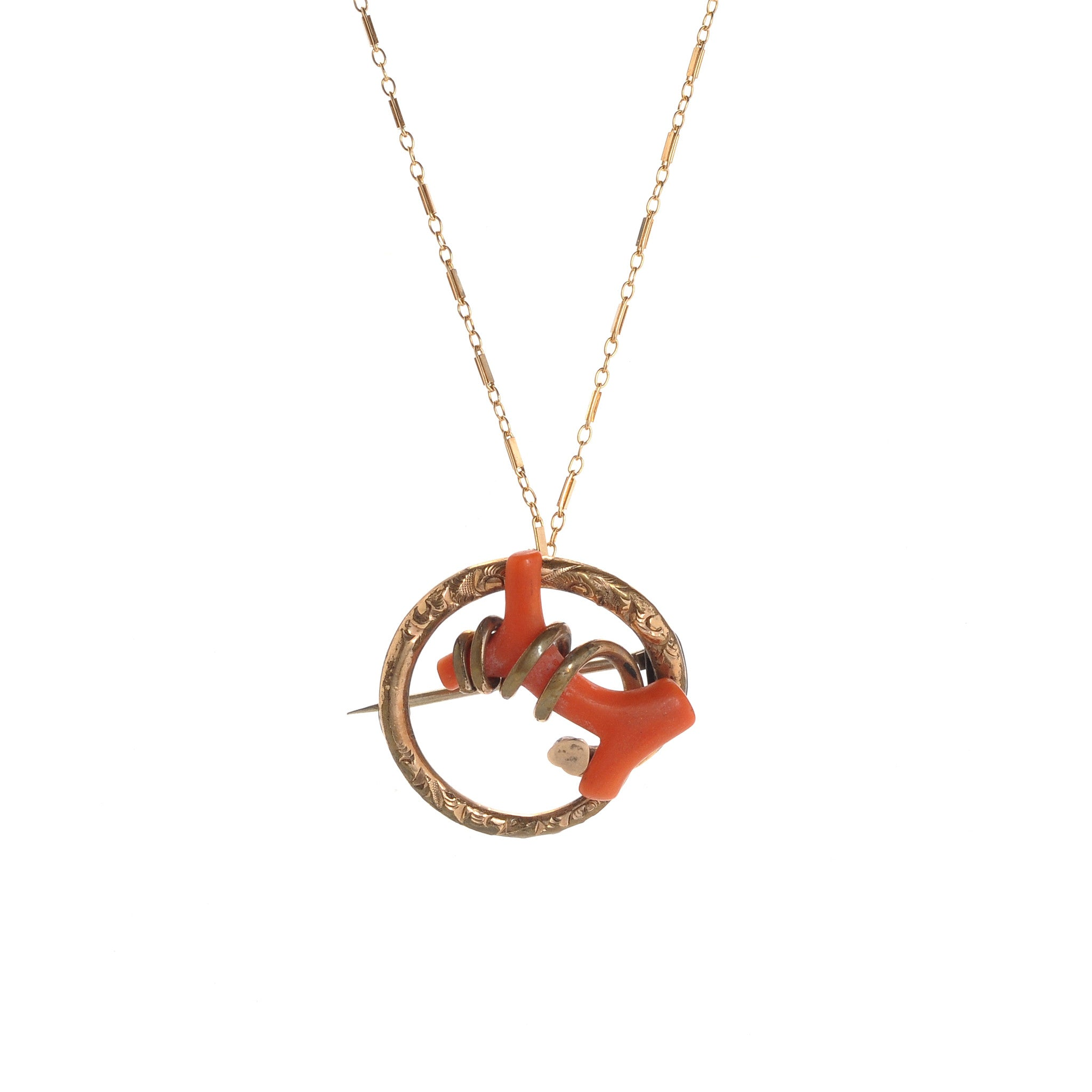 Victorian Coral Love Knot Necklace