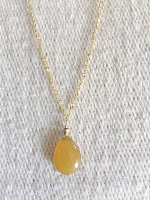 Yellow Chalcedony Pendant Necklace