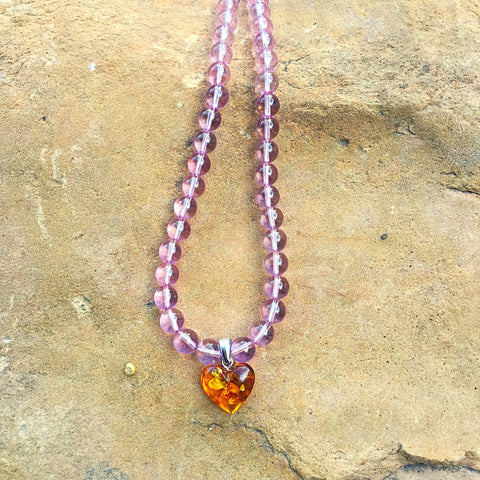 Amber heart with Atlantean Rose Quartz beads