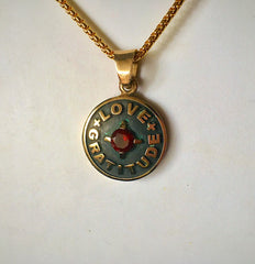 Love + Gratitude pendant Oxidized Bronze with Garnet