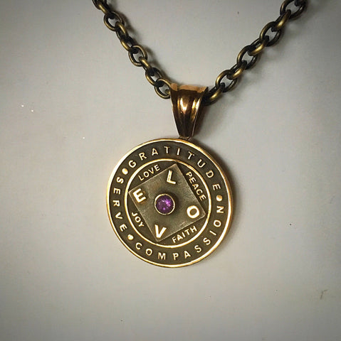 Love + Gratitude Oxidized Bronze with Amethyst