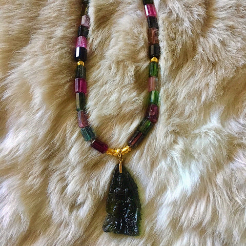 Moldavite carved Quan Yin and fancy Tourmaline necklace
