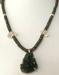 Moldavite necklace with carved Moldavite Buddha
