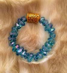 Aqua Aura  hand cut Quartz and Gold bead bracelet