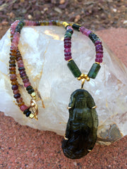 Moldavite carved Quan Yin with Faceted Tourmaline Necklace
