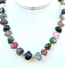 Faceted Rare Tourmaline Hand cut Necklace