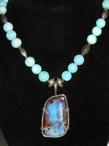 Boulder Opal and Peruvian Opal Beaded Necklace