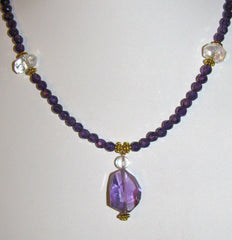 Angel Aura and Faceted Amethyst Drop Ancient necklace