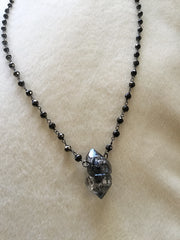 Tibetan Quartz point on pyrite chain
