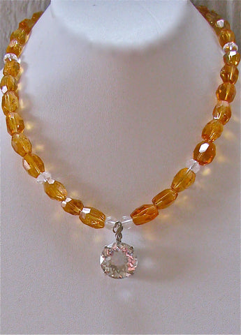Citrine with Quartz pendant