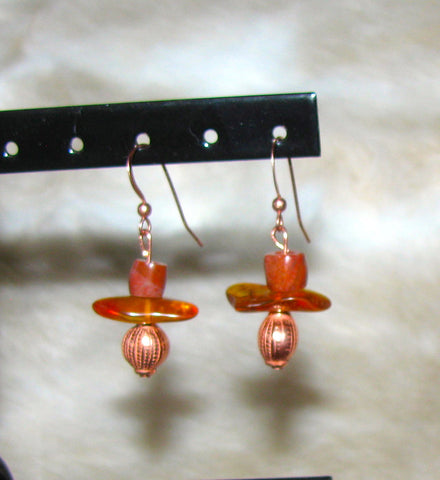 Copper and Amber Earrings