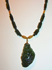 Quan Yin in Moldavite and Green Tourmaline Necklace