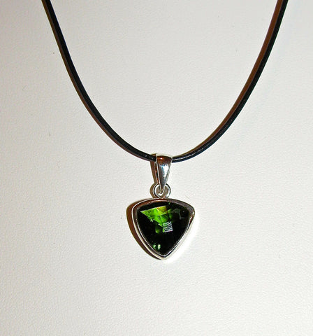 Faceted Moldavite Triangle pendant