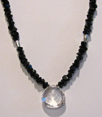 Black Tektite and Quartz Teardrop Necklace