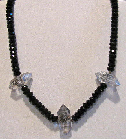 Black Onyx and Tibetan Quartz point Necklace