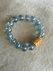 Atlantean Crystal Bracelet with 22K Antiqued Gold Tibetan Bead