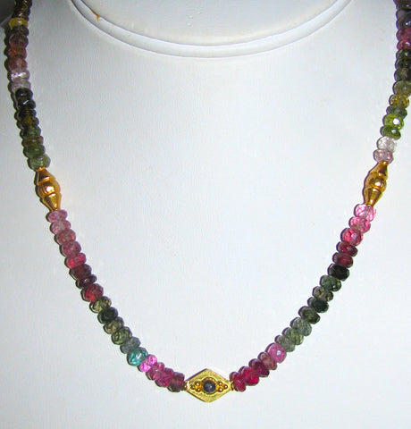 Fancy Tourmaline and Gold Necklace