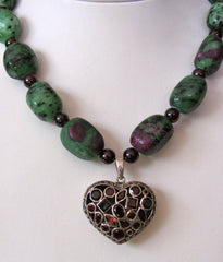 Zoisite and Garnet Heart Necklace