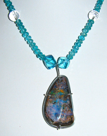 Apatite and Boulder Opal Necklace