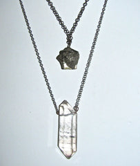 Pyrite nugget Necklace with Quartz Point Necklace