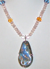 Large Boulder Opal and Rose Quartz necklace
