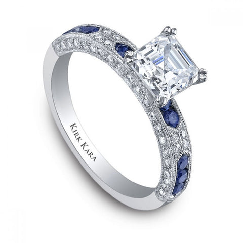Pre Set Kirk Kara Charlotte Engagement Ring in 18kt White Gold With Blue Sapphires and Round Diamonds. Style SS6852SA-R