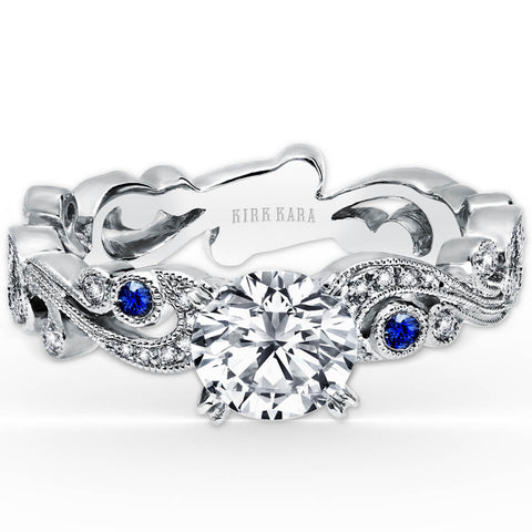 "Kirk Kara ""Angelique"" 18K White Gold Blue Sapphire and Diamond Scrollwork Engagement Ring. Style SS6967S-RS"