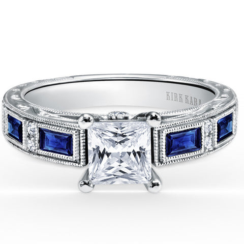 "Kirk Kara ""Charlotte"" 18kt White Gold Blue Sapphire Baguette and Diamond Engagement Ring. Style SS6685-R"