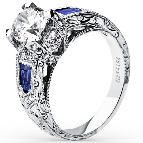 "Kirk Kara ""Charlotte"" Blue Sapphire Engagement Ring Featuring 0.30 Carats of Diamonds and 0.86 Carats Sapphires Set in 18kt White Gold. Style SS6835-R"