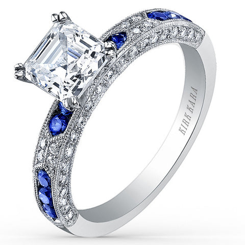 "Kirk Kara ""Charlotte"" Blue Sapphire and Diamond Engagement Ring in 18kt White Gold. Style SS6852SA-R"