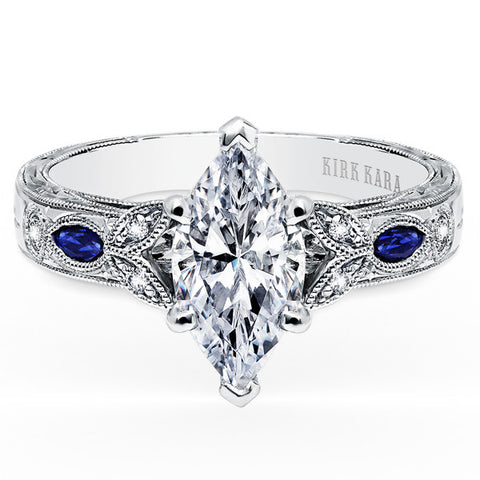 "Kirk Kara ""Dahlia "" 18K White Gold Marquise Cut Diamond Engagement Ring Crafted with 0.12 Carats of Diamonds and 0.22 carats of Marquise Cut Blue Sapphires. Style K1126SDG-R."