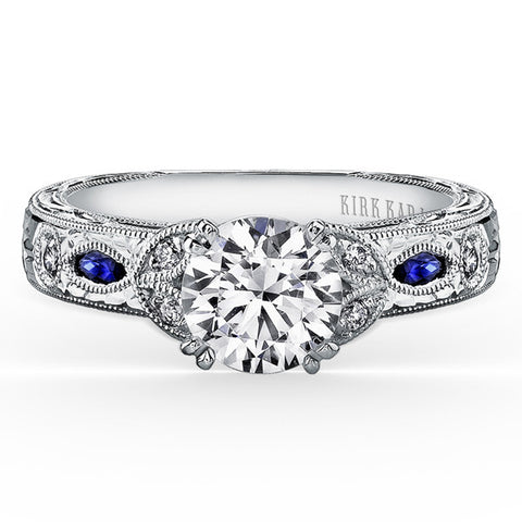 "Kirk Kara 18K White Gold ""Dahlia"" Marquise Cut Blue Sapphire Diamond Engagement Ring. Style K1120SDC-R"