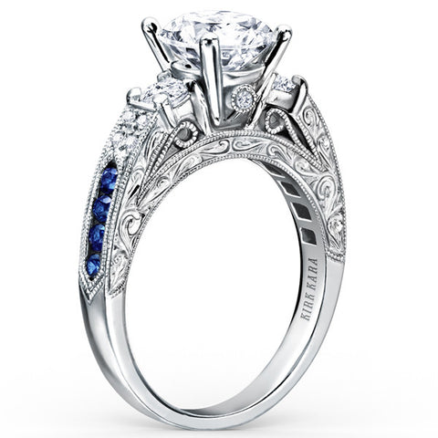 "Kirk Kara ""Charlotte"" Blue Sapphire & Diamond Engagement Ring in 18kt White Gold. Style K1390SDE-R"