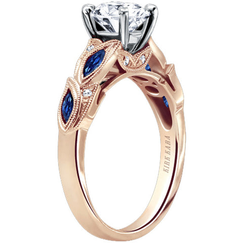 "Kirk Kara Blue Sapphire ""Dahlia"" Marquise Shaped Leaf Styled Engagement Ring in 18 Karat Rose Gold. Style K155BDRR"