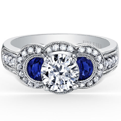 "Kirk Kara ""Charlotte"" Three Stone Engagement Ring with 0.25 Carats Diamonds and 1.20 Carats of Half Moon Cut Sapphires. Style SS6223-S"
