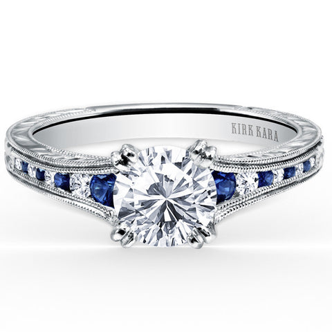 "Kirk Kara ""Stella"" Blue Sapphire Channel Set Diamond Engagement Ring in 18K White Gold. Style K1140BDC-R"