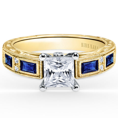 "Kirk Kara ""Charlotte"" 18kt Yellow Gold Blue Sapphire Baguette and Diamond Engagement Ring. Style SS6685-RY"