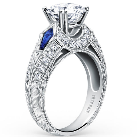 "Kirk Kara ""Charlotte"" Kite Cut Blue Sapphire Diamond Engagement Ring in 18kt White Gold. Style SS6637-R"