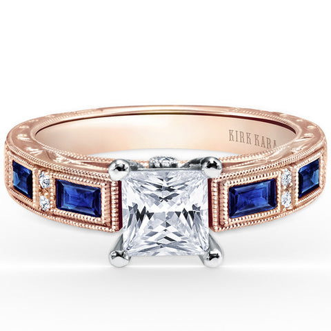 "Kirk Kara ""Charlotte"" 18K Rose Gold Baguette Cut Blue Sapphire Diamond Engagement Ring. SS6685-RR"